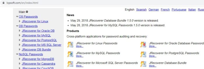 LCP Soft password recovery tool