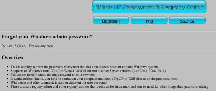 NT Password and Registry Editor