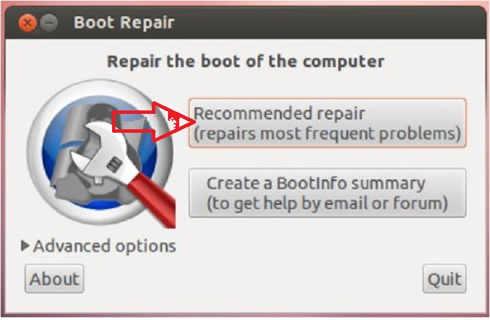 """click on the """"recommended repair"""""""