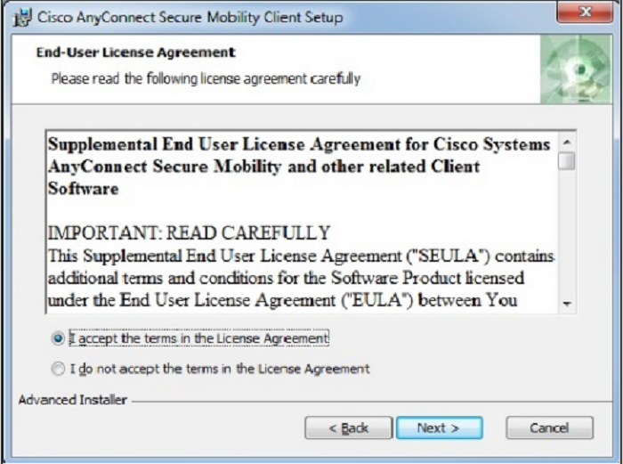 accept licence agreement